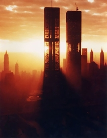 The World Trade Center  in NYC during construction