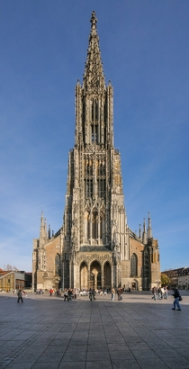 The worlds tallest church Finished in  Ulm Minster in Germany is the fourth tallest structure built before  at  meters and for a short period of time was the tallest building in the world yes taller than the Great Pyramid