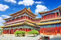 The Yonghe Temple in Beijing China constructed in  with a combination of Han Chinese and Tibetan styles