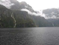 There can be be close to  waterfalls here any given day some only lasting for hours Fjord lands Milford Sound Te Anau New Zealand