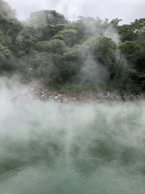 Thermal Valley a volcanic crater filled with natural sulphuric F hot spring water in Beitou District Taiwan