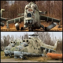 These abandoned helicopters look like they have faces on them