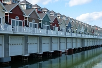These Alexandria Bay NY USA Townhomes have boat garages rather than car garages