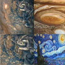 These images of the planet Jupiter only remind me of Van Goghs features in The Starry Night How beautiful