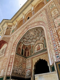 These intricate carvings and murals found on the Amber Gate were painted using natural pigments Jaipur India
