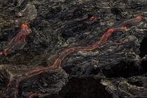 These lava rivers from the Klauea volcano in Hawaii