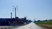 These nicely designed power poles in Transylvania