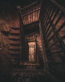 These staircase in an abandoned mental institution