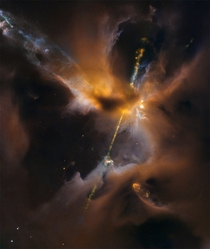 These two cosmic jets actually beam outward from a newborn star