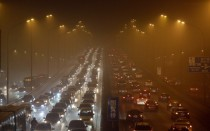 Third Ring Road on a very hazy winter day in Beijing Jan