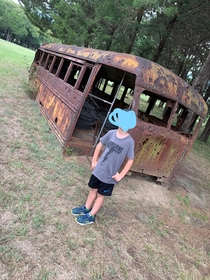 This abandoned bus on a ranch in east Texas Also happens to be home to some friendly snakes