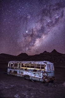 This abandoned bus outside an abandoned salt mine I photographed in the Atacama Desert last year