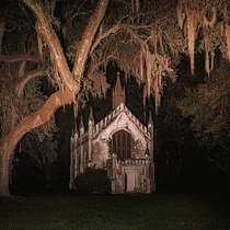 This abandoned Chapel in the middle of a dark swamp