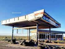 This abandoned gas station on the border of New Mexico and Texas