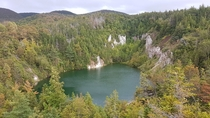 This abandoned gypsum mine near Cheticamp Nova Scotia makes for a sweet swimming hole in the summertime