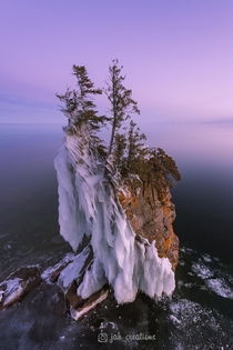This amazing frosty seastack broke off and fell into Lake Superior this weekend