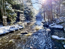 This beautiful creek I walked alongside today The sun lined up perfectly Nackawic New Brunswick Canada