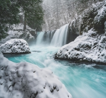 This beautiful waterfall looking even more amazing with fresh snow Spirit Falls WA