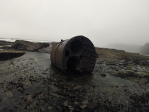 This boiler from a shipwreck I found at low tide on the west coast of Vancouver Island BC