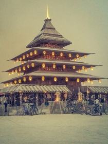 This  Burning Man Temple shows a beautiful mixture of both Futuristic and Traditional Japanese designs and motifs