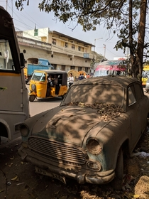 This dusty car in Hyderabad India
