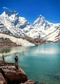 This glacial lake I encountered just below the Thalaysagar peakm in Gangotri National Park