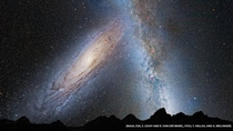 This illustration shows a stage in the predicted merger between our Milky Way galaxy and the neighboring Andromeda galaxy as it will unfold over the next several billion years Credit NASA ESA Z Levay and R van der Marel STScI T Hallas and A Mellinger