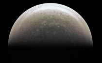 This image from NASAs Juno spacecraft provides a never-before-seen perspective on Jupiters south pole The JunoCam instrument acquired the view when the spacecraft was about  miles  kilometers above the polar region