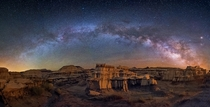 This is a panorama from the Bisti Badlands in the NW part of New Mexico USA By Wayne Pinkston