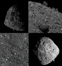 This is Asteroid Bennu Its  meters wide Its peppered with huge boulders It revolves around the Sun every  years and every  years it comes very close to earth Theres a  in  chance of it impacting us between the year -