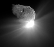This is comet Tempel  This picture was taken by a NASA spacecraft on July   called Deep Impact It was sent to launch an Impactor to take a measurement of the interior nucleus of the comet Its the first time weve ever excavated material from a comet This i
