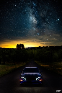 This is one of my first attempts at astrophotography and im blown away with what i was able to capture I blended it with a picture of my car to mix two of my favorite photography subjects Any help on getting better shots is appreciated