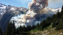 This is the Boulder Creek wildfire and hectare fire currently happening in a remote area of British Columbia Photo from BC Forest Fire Info