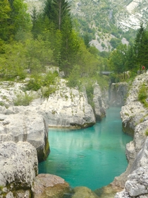 This is the emerald benchmark River Soa Slovenia
