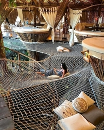 This is the interior of a resort in Tulum Mexico