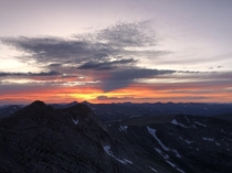This is what sunset looks like on top of North Americas highest paved road Mt Evans Colorado