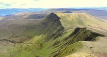 This is where I ate my breakfast this morning View of Cribyn from the top of Pen Y Fan Wales