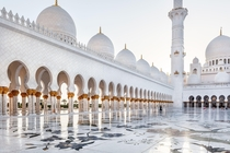 This magnificent exterior walls of Sheikh Zayed Grand Mosque Center in Abu Dhabi United Arab Emirates