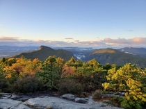 This Morning at Hawksbill Mountain looking down the Linville Gorge North Carolina USA