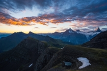 This morning before sunrise in the Swiss Alps