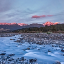 This mornings sunrise at the Hapuku River near Kaikoura New Zealand