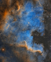 This nebula is known for looking like the North America continent complete with a prominent Gulf of Mexico Its  lights years from Earth and was captured with  hours of exposure time