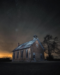 This old schoolhouse in Ontario Canada was bought by the farmer who went to school there so nobody could ever go to school there again His wifes mother and grandmother also taught there