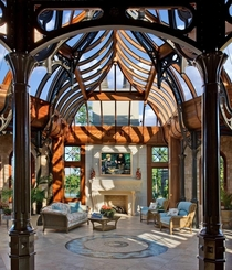 This one of a kind conservatory with a floor that drops down at the press of a button to form a swimming pool - designed by Tanglewood Conservatories Tennessee