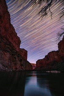 This particular photograph represents two hours of the Earths rotation with a thousands of stars acting as the timekeeper - Grand Canyon  Pic by Matt Payne