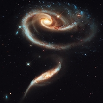 This photogenic group of interacting galaxies called Arp  lie at a distance of over  million light-years from earth
