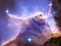 This picture of the Eagle Nebula looks like a wolf skull