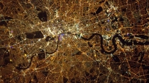 This shot was taken by British Astronaut Major Tim Peake from the International Space Station at midnight on Saturday January   The image is of London showing its skeins of twinkling lights shining brightest around Oxford Street and Regent Street