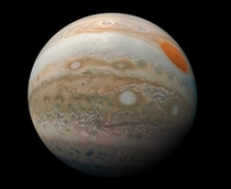 This striking view of Jupiters Great Red Spot and turbulent southern hemisphere was captured by NASAs Juno spacecraft as it performed a close pass of the gas giant planet Juno took the three images used to produce this color-enhanced view on Feb