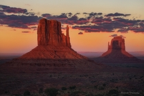 This symmetrical shadow alignment only happens twice a year in Monument Valley Utah  by Frank Delargy
